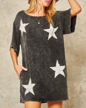 Washed Stars Graphic Tee Mini Dress with Pockets in Charcoal