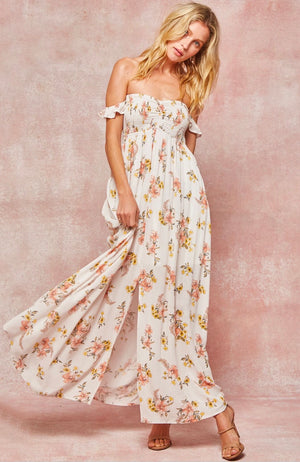 Dynasty Floral Smocked Strapless Maxi Dress in Ivory