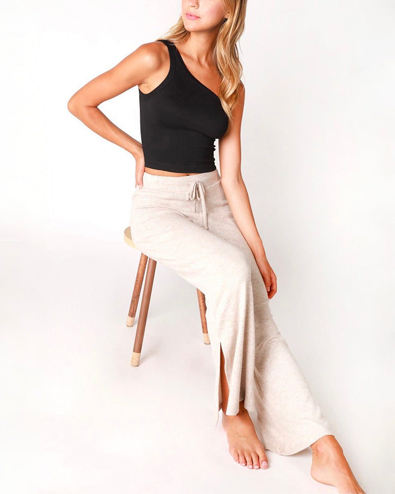 Solid One Shoulder Ribbed Crop Top in More Colors