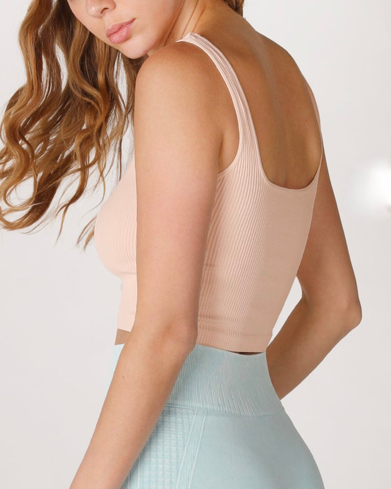 Rockstar Ribbed Square Neck Crop Top in More Colors