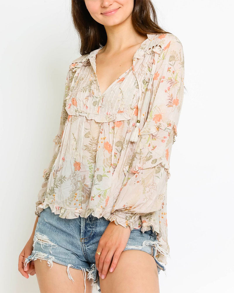 Final Sale - Natural Floral Babydoll Blouse