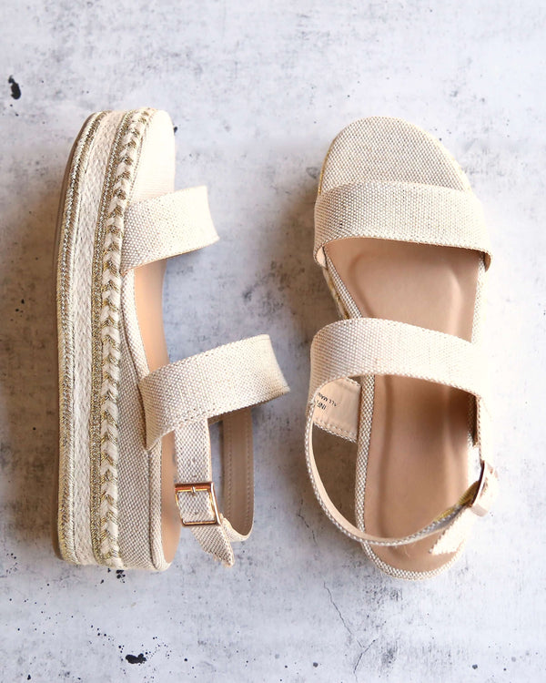 Natural Single Band Espadrilles Platform Sandal with Ankle Strap