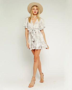 Neutral Snake Waist Tie Dress