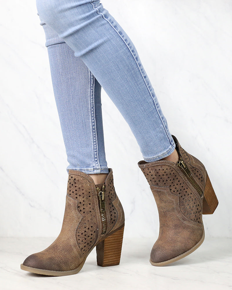 Not Rated - Gretchen Laser Cut Ankle Bootie in Tan