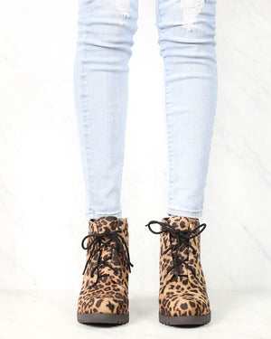 Not So Far Fetched Lace-Up Wedge Ankle Booties in Camel Leopard