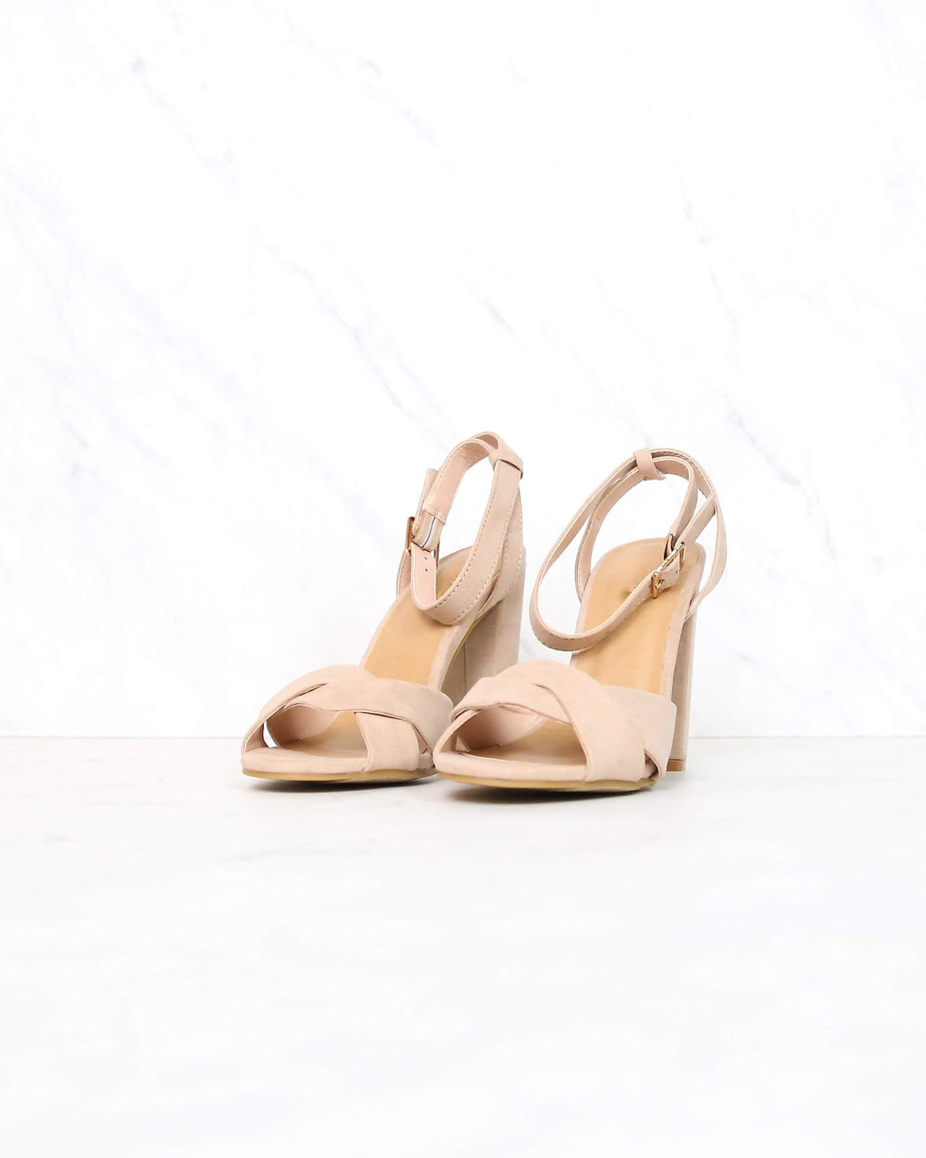 Nude Suede Front Knot Ankle Strap Heels