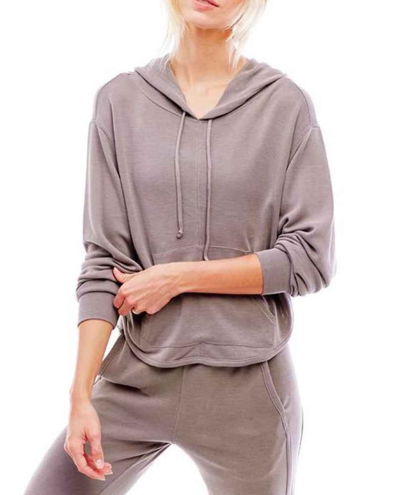 Free People - Back Into It Active Sport Hoodie in Olive Green