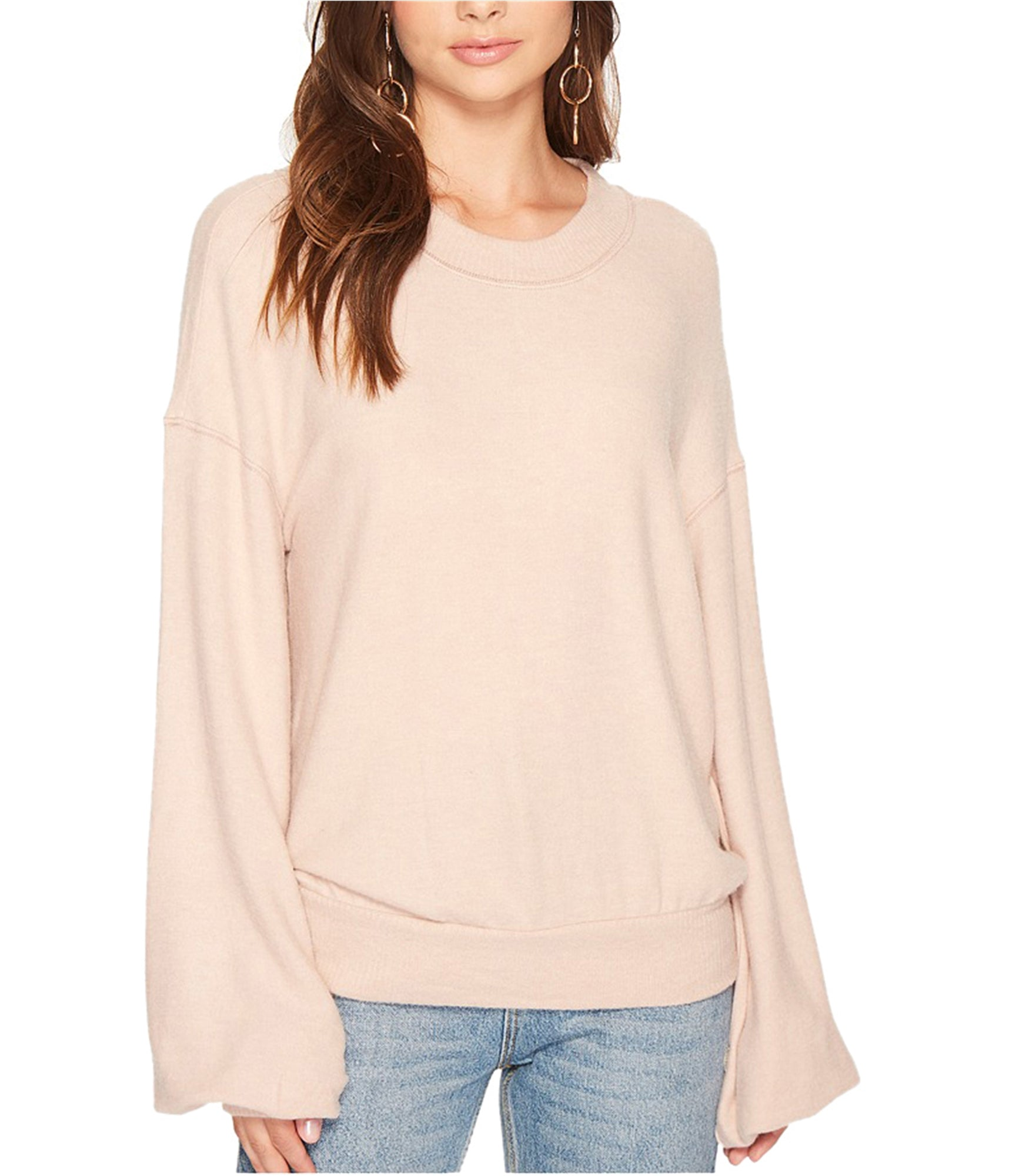 Free People TGIF Pullover Sweater in Almond
