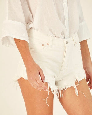 free people - loving good vibrations cut off shorts - white