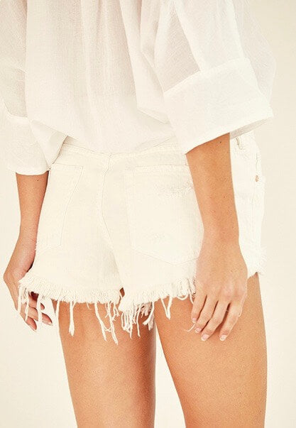 Free People - Loving Good Vibrations Cut Off Shorts in White