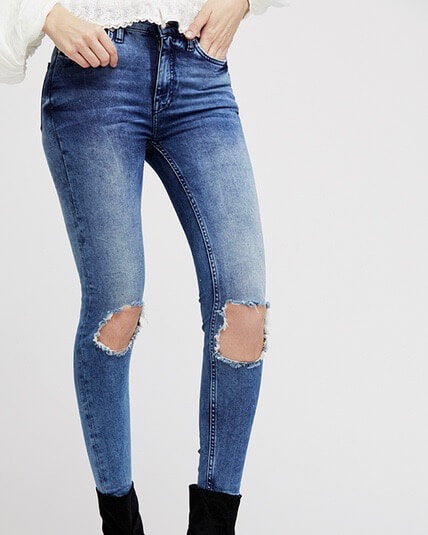 Free People - Busted High Rise Distressed Skinny Jeans in Blue/Turquoise