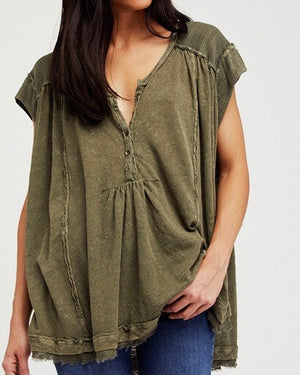 free people - aster high-low henley top - more colors
