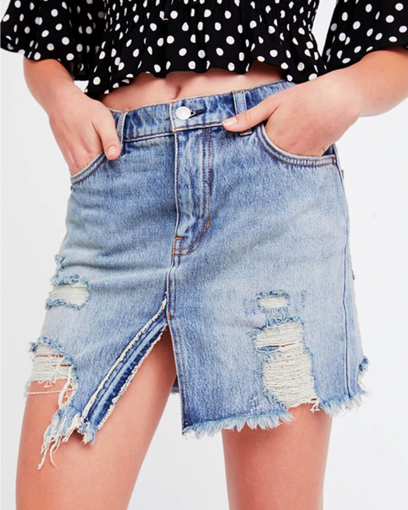 free people - relaxed & destroyed skirt - blue