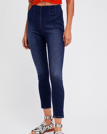 free people - ultra high pull on high waist skinny jeans - blue
