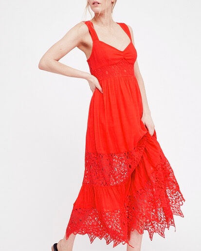 Free People - Caught Your Eye Gauzy Maxi Dress in Red