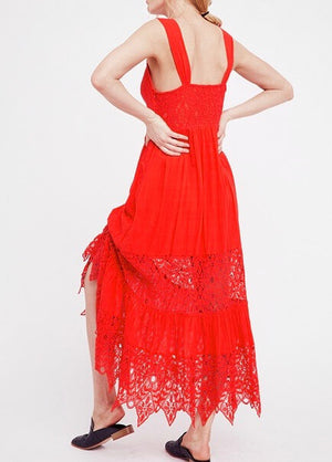 free people - caught your eye gauzy maxi dress - red