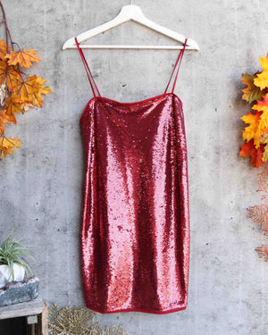 Free People - Time To Shine Sequin Mini Slip Dress in Canyon Red