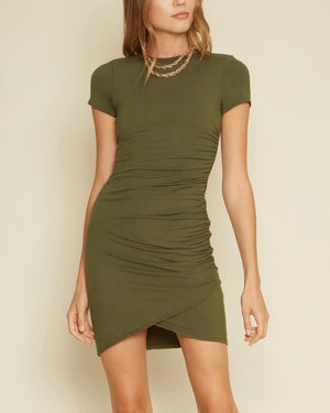 Charli One Side Shirred Dress in Olive