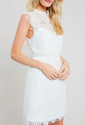 open-back mock neck lace dress - more colors