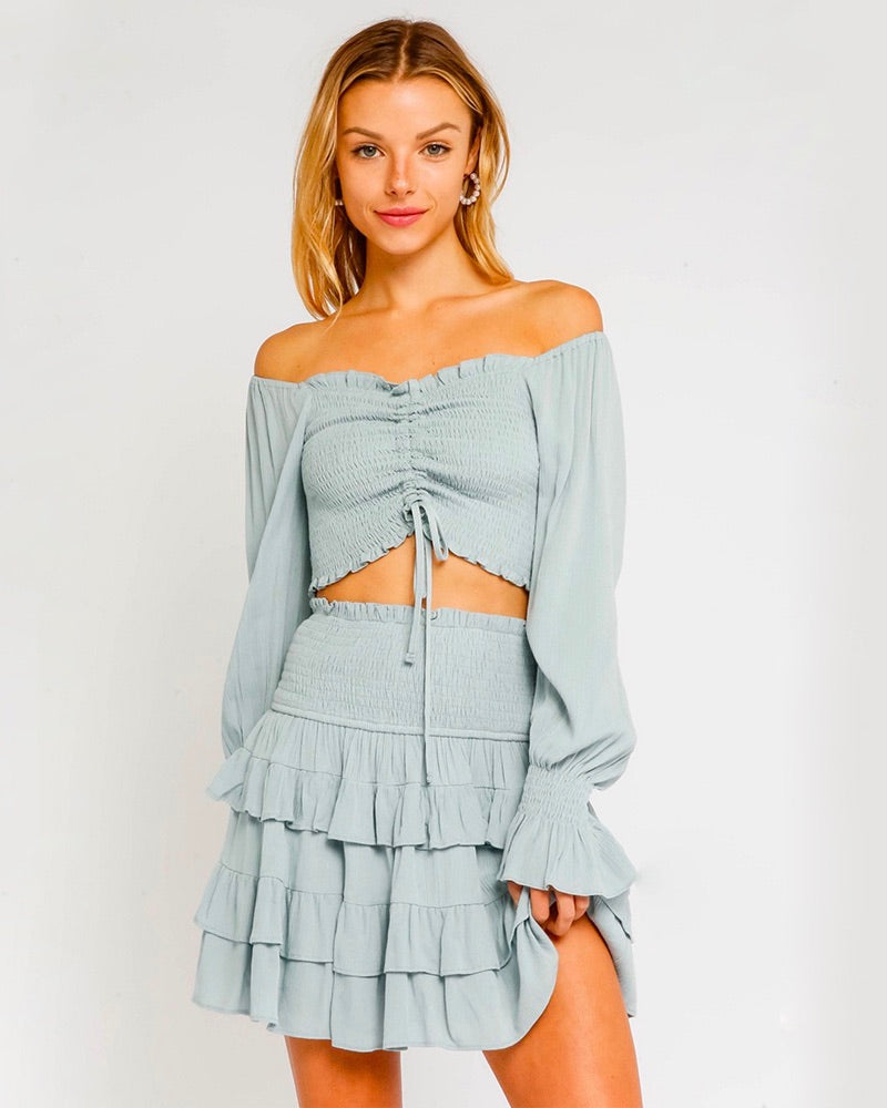 Off-The-Shoulder Ruched Smocked Crop Top in Storm