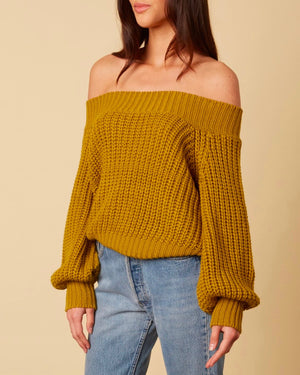 Off-shoulders knit bishop sleeves sweater - moss