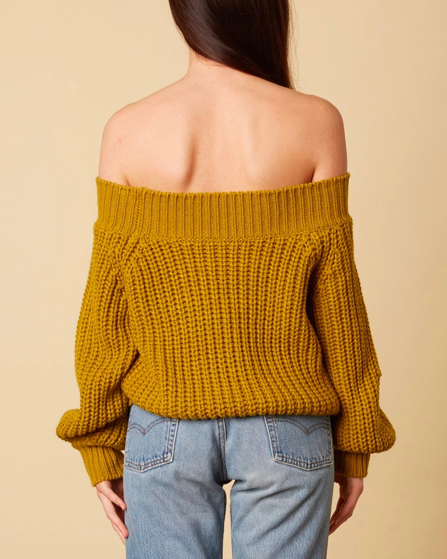 f85396fcb3 Off-shoulders knit bishop sleeves sweater - moss