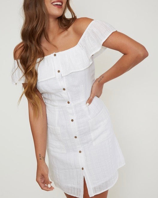 off the shoulder button-down woven mini dress - ivory