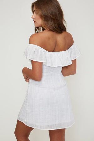 Off The Shoulder Button-Down Woven Mini Dress in Ivory