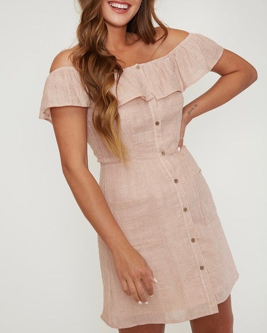 6d81a0bf off the shoulder button-down woven mini dress - peach