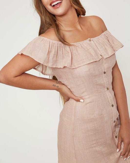 af614ceabcd6f off the shoulder button-down woven mini dress - peach