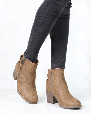One More Dance Faux Leather Ankle Bootie with Buckle Detail in Camel
