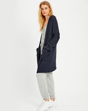 Open Front Longline Cardigan in Navy
