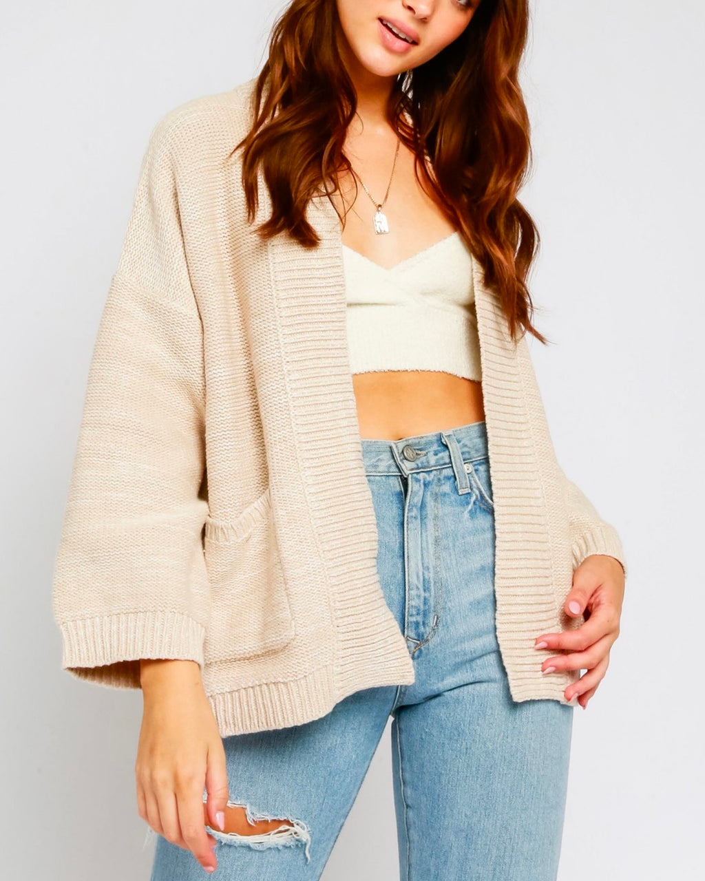 Open Knit Cardigan with Pockets and Fluted Sleeves in Oatmeal