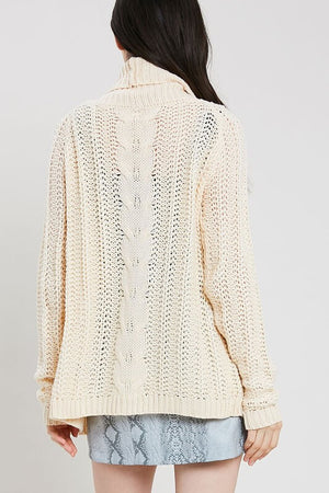 Open Front Cable Knit Sweater Cardigan - Natural