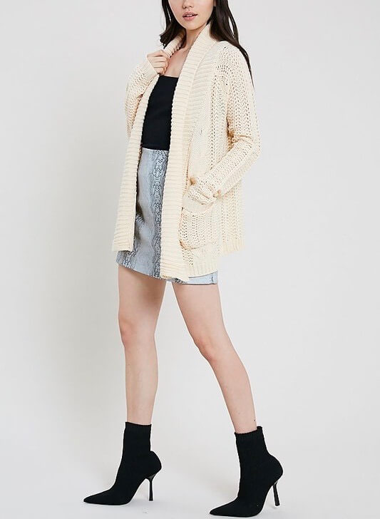 Open Front Cable Knit Sweater Cardigan More Colors