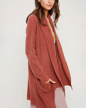 Open Front Hi Low Cable Knit Sweater Cardigan - Brick