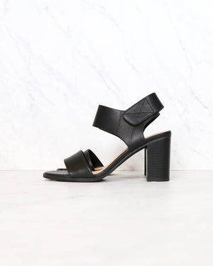Open Toe Chunky Block Heel Ankle Strap Sandals in black leather