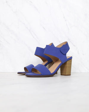 Open Toe Chunky Block Heel Ankle Strap Sandals in cobalt blue