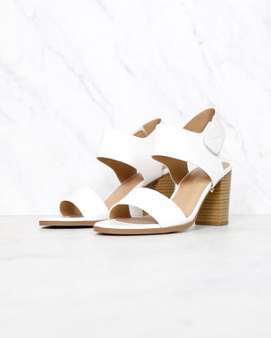 Open Toe Chunky Block Heel Ankle Strap Sandals in white