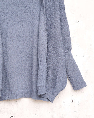 Open fuzzy cardigan with pockets - Blue