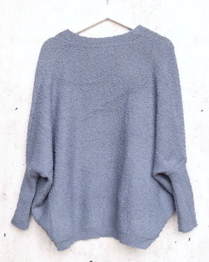 Open Fuzzy Cardigan with Pockets in Blue