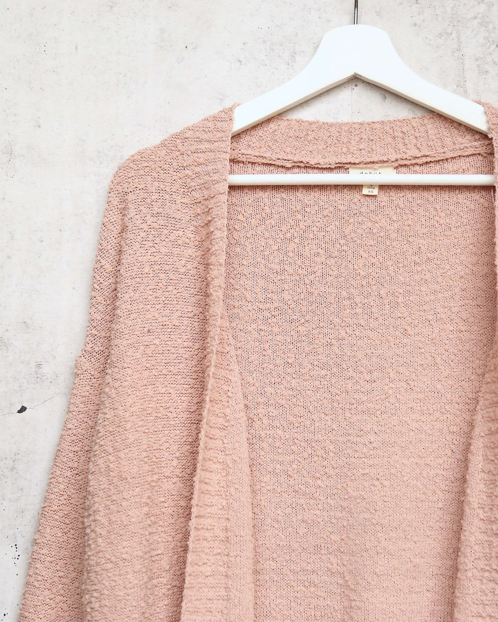 Open fuzzy cardigan with pockets - Dusty Pink