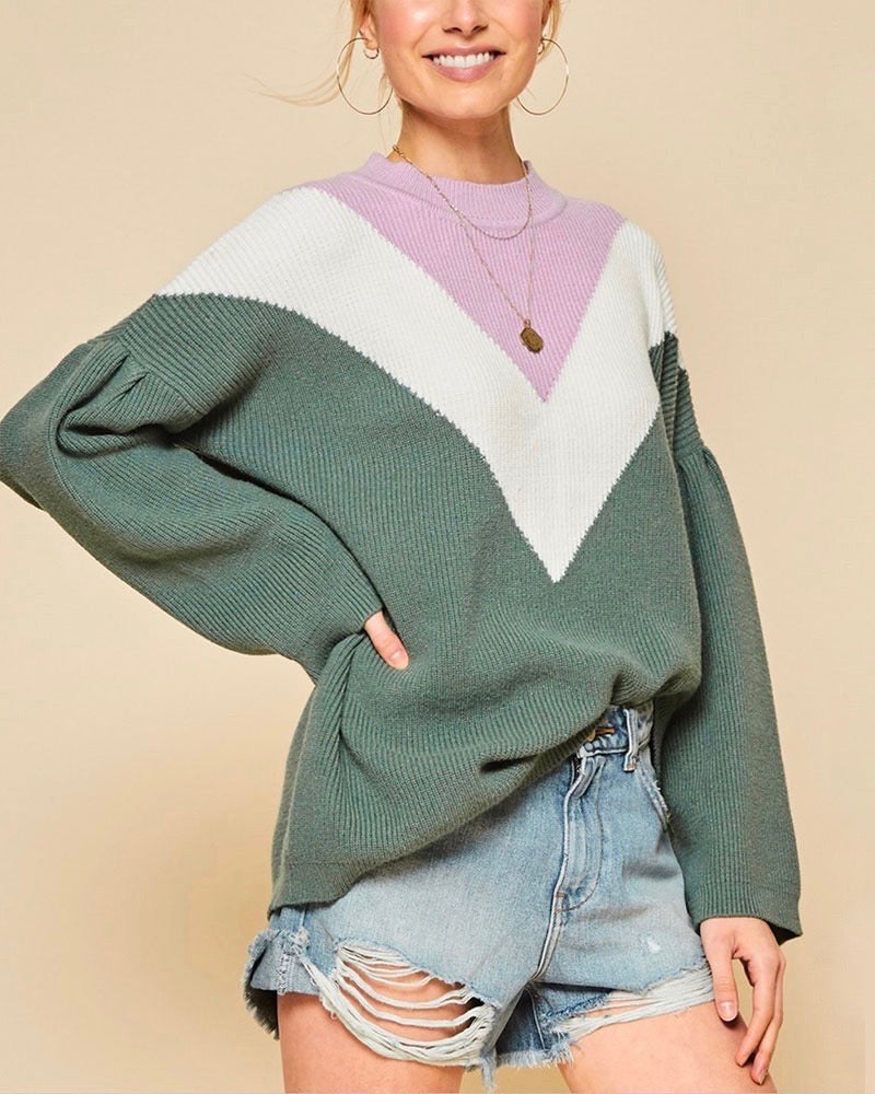 Oversized Color Block Knit Pullover Sweater