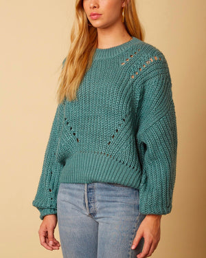 Cotton Candy LA - Leah Oversized Knit Sweater in Teal