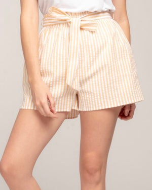 everly - striped paper bag shorts - yellow