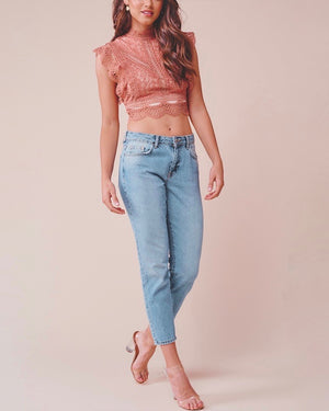 Paris Sleeveless Lace Crop Top in Rose