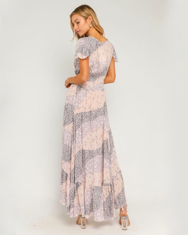 Pastel Border Maxi Dress