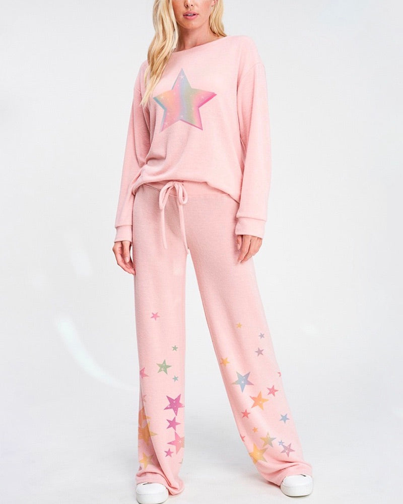 Pastel Star Print Sleep Lounge Wear Set in More Colors