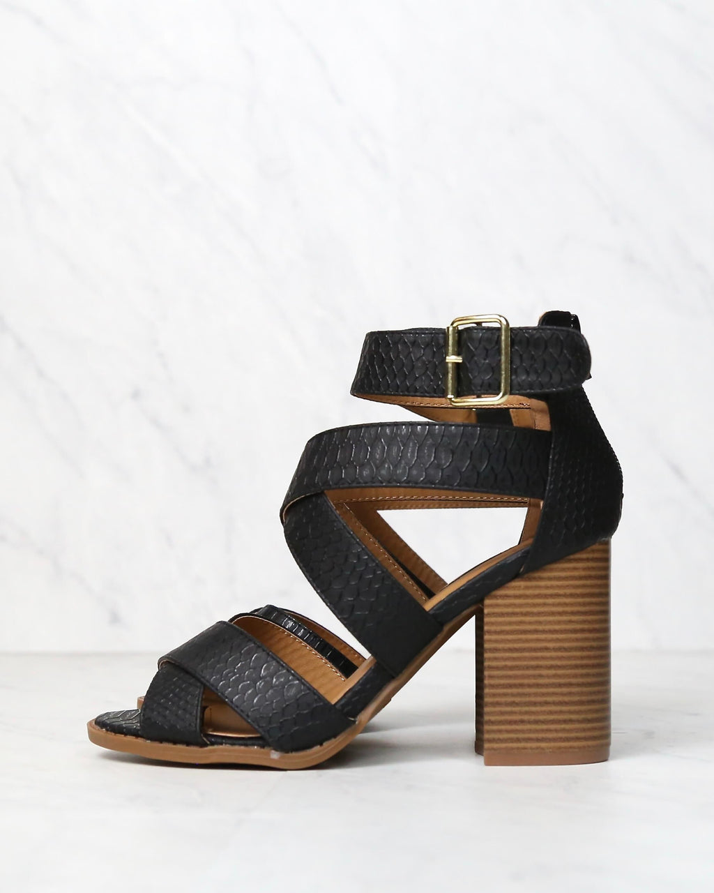 sneaky snake textured strappy peep toe heeled sandal in black