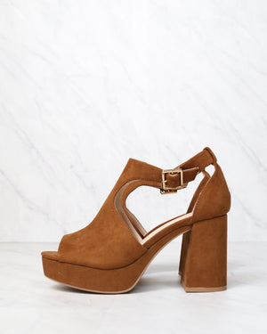 Vegan Suede Chunky Heeled Peep Toe Heels in Chestnut